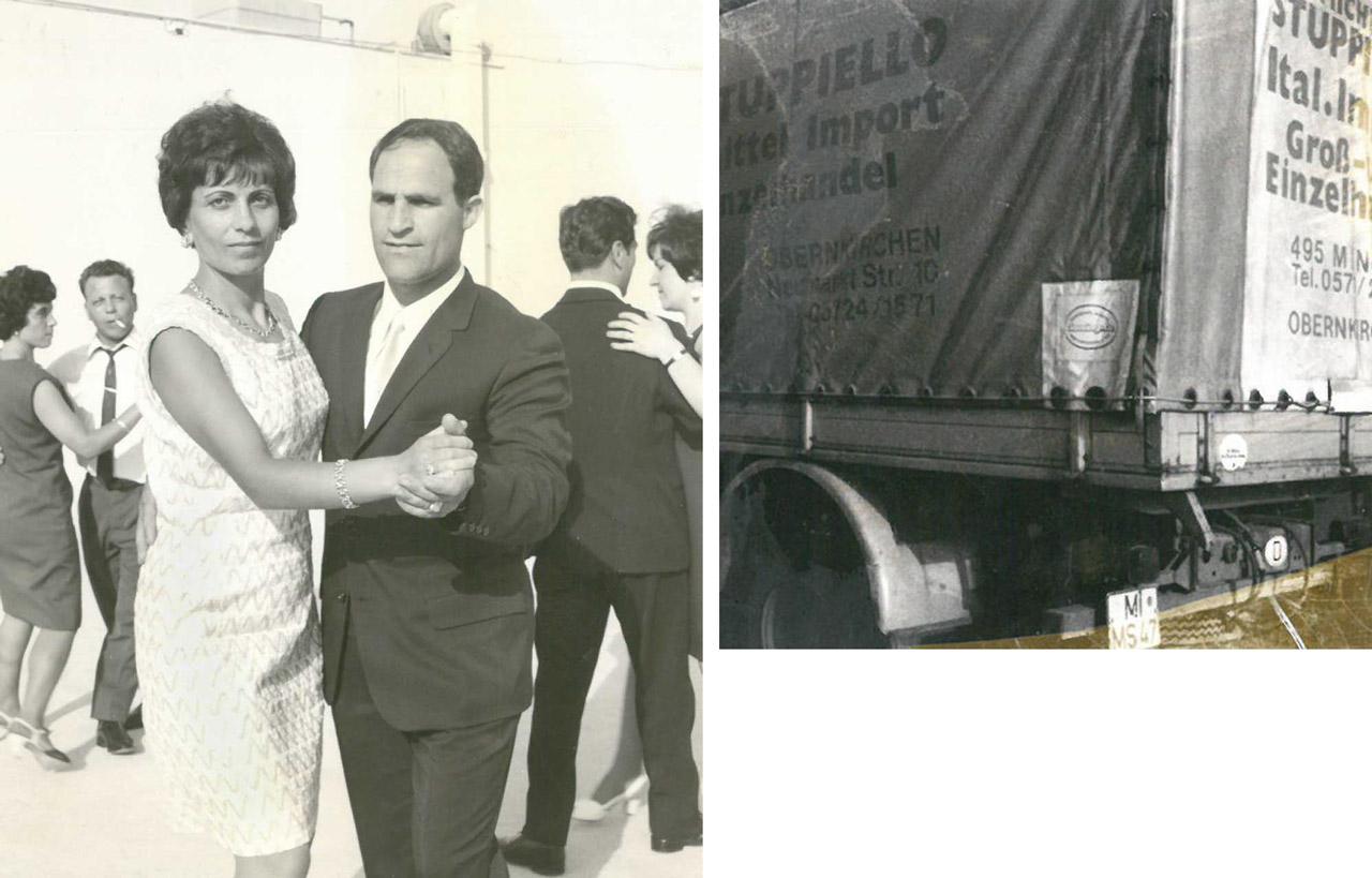 Michele und Antonietta Stuppiello in den frühen 60er Jahren, rechts erster LKW